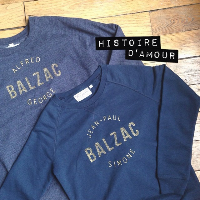 Raide dingue des premiers sweats signés @balzacparis qui conte en broderie d'illustres histoires d'amour... Je vous en reparle très vite sur le blog ! #ootd #sweat #love