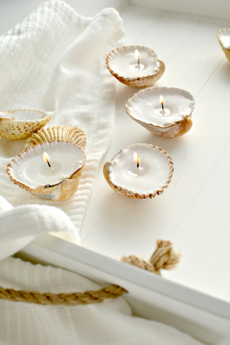 handmade-gift-ideas-shell-tealights